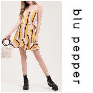 Blu Pepper Ruffle Trim Stripe Print Dress